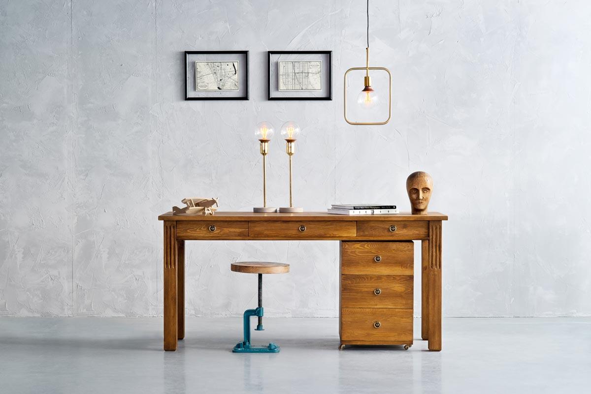 drewniane biurko loftowe