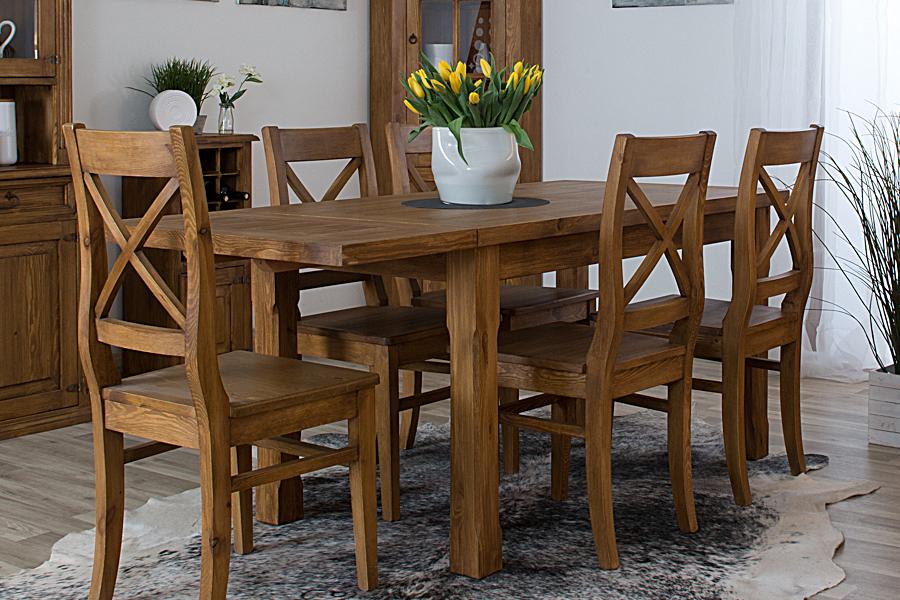 stół z litego drewna wosnowany
