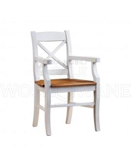 Biały fotel stylowy z drewna