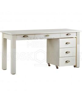 białe biurko drewniane z  szafką