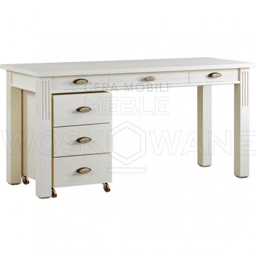 białe biurko z drewna litego 1 szafka